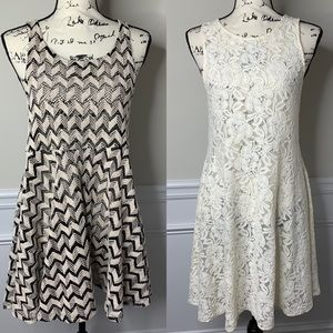 Free People Lot of 2 lace floral chevron dress S